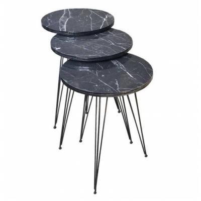 Yurdakul Bronz Tel Metal Ayaklı Zigon Sehpa Seti Siyah