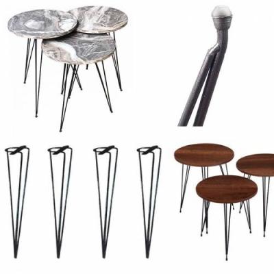 Yurdakul Zigon Sehpa Ayağı Metal Boyalı Siyah 56 cm 3'Lü Set